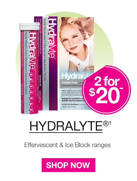Buy 2 Hydralyte Effervescent Tablets or Ice blocks for $20.00